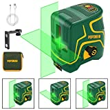 Rechargeable Laser Level Green POPOMAN, Three Modules with 2 Laser Heads, Horizontal/Vertical Line and Cross Line, 147ft, Self Leveling and Pulse Mode, Magnetic Support, 360° Rotating, IP54 - MTM310B