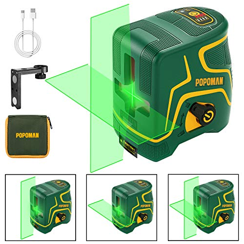 Laser Level Rechargeable POPOMAN, Three Modules with 2 Laser Heads, Horizontal/Vertical Line and Cross Line Green, 147ft, Self Leveling and Pulse Mode, Magnetic Support, 360° Rotating, IP54 - MTM310B