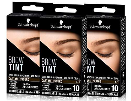 Schwarzkopf Brow Tint - Tinte De Cejas Castaño Oscuro Tono 4.1 (Pack de 3) – Coloración permanente - Color natural y duradero de hasta 4 semanas