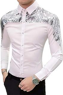 GRMO - Camisa de Vestir para Hombre, Manga Larga, Corte Ajustado, con Lentejuelas, Estilo Estilista