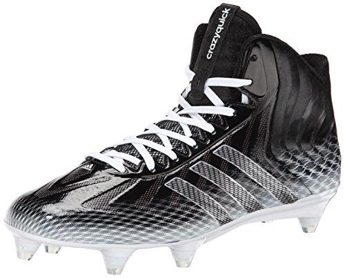 adidas Performance Crazyquick Mid D Fußball Cleat, Black/Metallic Silver/White, 12.5 M US, Schwarz - Schwarz metallisch Silber Weiß - Größe: 47 1/3 EU