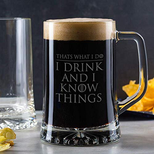 'I Drink And I Know Things' Fathers Day Game of Thrones Inspired Beer Glass - Game of Thrones gifts for men For Him - Engraved Pint or Alcohol Tankard