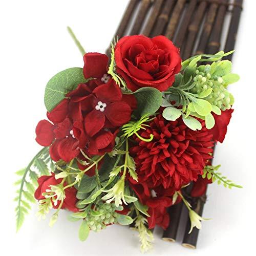 PPLAX 1 Bouquet de Soie Pivoine Bouquet Home décoration Accessoires de Mariage fête de Mariage Scrapbook Fausse Plante Boule Artificielle Rose Fleur (Color : Red)