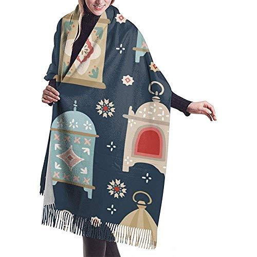 Handgetekende decoratieve lantaarns en sterren mooie imitatie kasjmier voelen winter sjaal Pashmina sjaal wraps zachte warme deken sjaals elegante wrap voor vrouwen 27 x 78 inch