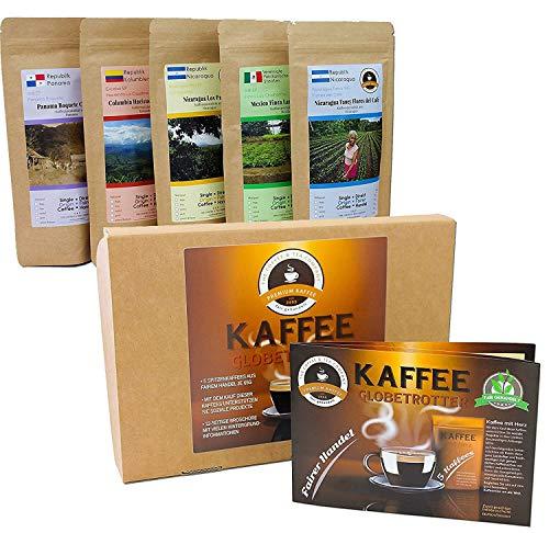 Kaffee Globetrotter - Kaffee Mit Herz Box - Gemahlen - für Kaffee-Filtermaschine, Handfilter- 5 Mal 100 g Fair Gehandelter Spitzenkaffee Unterstützt Soziale Projekte