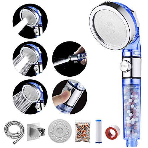 MIAOHUI Blau Öko Filter Duschkopf mit lonenfilter und Kalkfilter,Druckerhöhung Handbrause Wassersparend mit Filter Ausgestattet, Schlauch, Halterung, PP-Baumwolle, Packung Filterkugeln,Panel