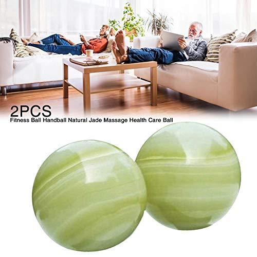 HoneybeeLY Bola de Jade Verde, 2 Unidades de Bolas Chinas para Ejercicios de Salud y estrés, Masaje, Piedra Natural para ejercitar la Mano