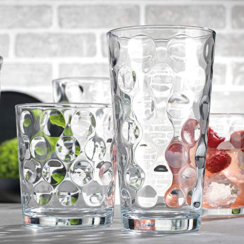 Attractive Durable Drinking Glasses, Set of 16 Clear Glass Cups, 8 Highball Glasses (17oz) 8 Rocks Glasses (13oz), Bubble Design Glassware Set for Water, Juice, Beer, Wine, and Cocktails