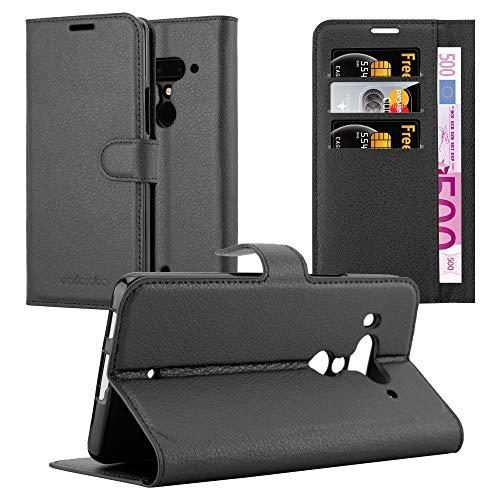 Cadorabo Hülle für HTC U12+ (Plus-Version) in Phantom SCHWARZ - Handyhülle mit Magnetverschluss, Standfunktion und Kartenfach - Case Cover Schutzhülle Etui Tasche Book Klapp Style