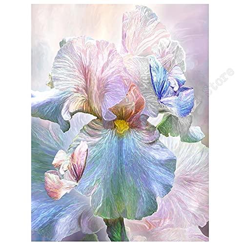 LIZHIOO Pintura De Diamante De Patrón De Flores De Iris De Color, Cuadrado Completo/Redondo Derenculento De Bloidaje Decoración De Mosaico Regalos (Size : Round Drill 40x50cm)