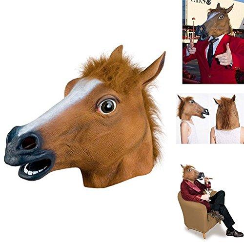 aloiness De Animal Cabeza De Caballo De Halloween Decoración Disfraces Cosplay De Cabeza Completa Latex