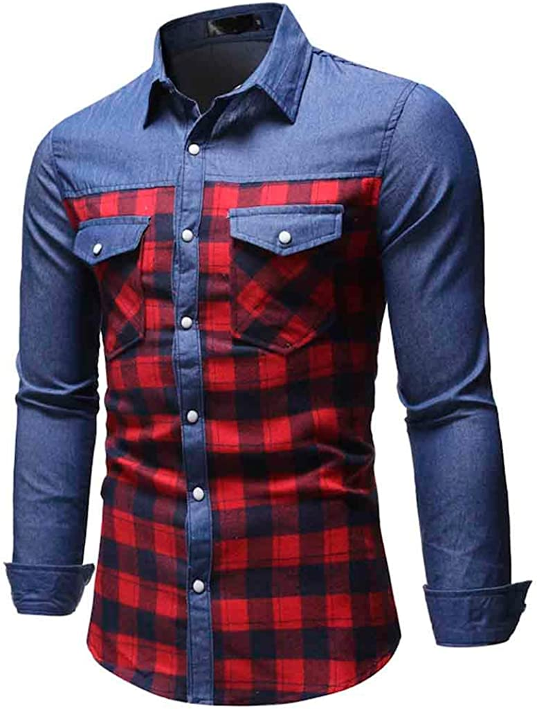 Men's Casual Jeans Plaid Slim Fit Long Sleeve Button Down Pocket Dress Shirts