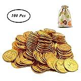 SUNSHINETEK Monedas de Oro de plástico 100 Unidades Juguete Pirata Monedas Monedas de Oro Falsas para niños con Bolsa de Regalo con cordón para Fiesta Infantil