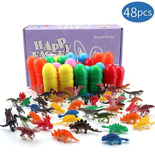 Amy&Benton Uova di Pasqua Giocattolo Riempite con 48 Pezzi Mini Dinosauri, Bambini, Bomboniere per Feste, premi in Classe, riempitivi per Cesto e ripieni