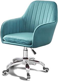 Silla de escritorio ajustable de terciopelo con rotación de 360°, soporte de cintura, para oficina, sala de estar, comedor, dormitorio, vestidor