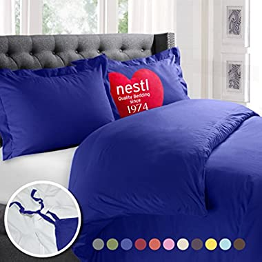 Nestl Bedding Duvet Cover, Protects and Covers your Comforter/Duvet Insert, Luxury 100% Super Soft Microfiber, Queen Size, Color Royal Blue 3 Piece Duvet Cover Set Includes 2 Pillow Shams