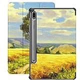 Funda Galaxy Tablet S7 Plus de 12,4 Pulgadas 2020 con Soporte para bolígrafo S, Pinturas al óleo, Paisaje Rural, Bellas Artes, Soporte Delgado, Funda Protectora Tipo Folio para Samsung