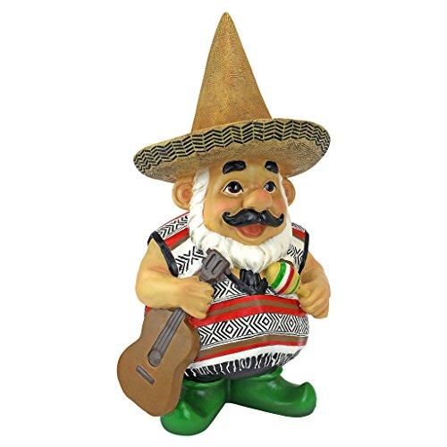 Design Toscano QM16034 Garden Gnome Statue - Pancho the Mariachi Gnome - Outdoor Garden Gnomes - Funny Lawn Gnome Statues,full color