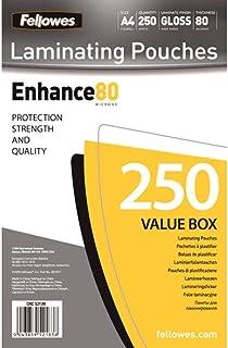 Fellowes 5312903 Enhance Pochettes de plastification brillantes A4 80 microns - Pack de 250 Transparent