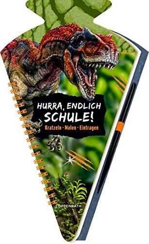 Schultüten-Kratzelbuch - T-REX World - Hurra, endlich Schule!: Kratzeln, Malen, Eintragen