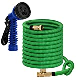 Willcallyou 50 FT Expandable Flexible Garden Hose, Kink Proof, Triple Core Latex, 3/4 in Brass Fittings with Spray Nozzle.