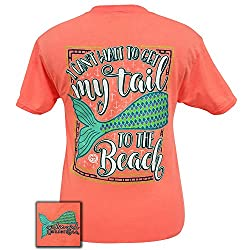 Girlie Girls Retro Mermaid Tail Beach Short Sleeve T-Shirt