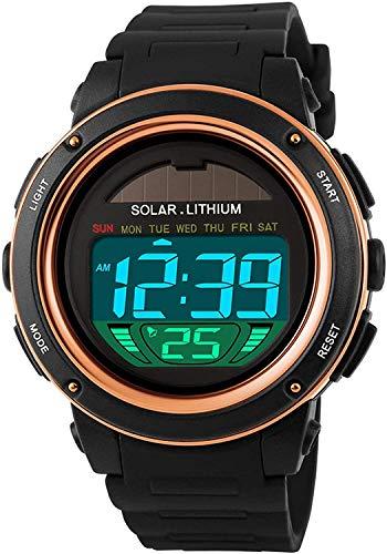 BAIDOLL Mira El Silicón De Reloj Digital Creativo Único con Reloj De Deportes Militares Solares Impermeables para Hombres Y Mujeres Ropa Infantil Gold Gold