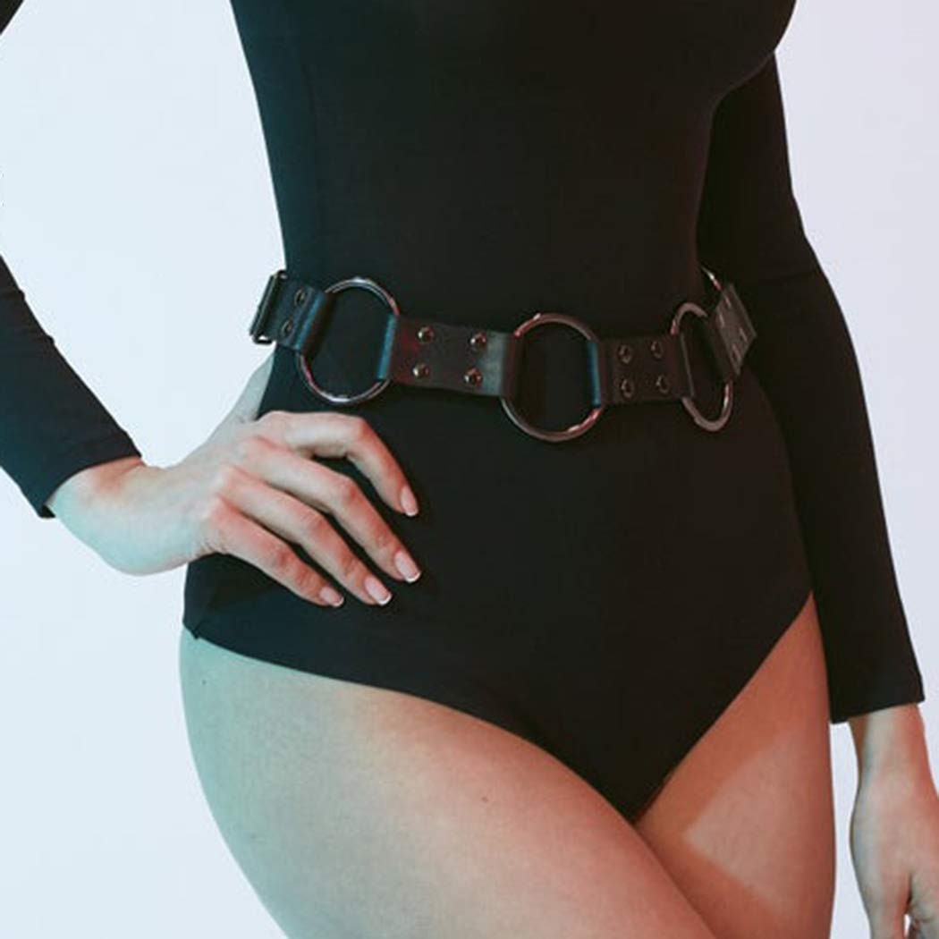 Asooll Punk Leather Waist Chain Black Body Chain Harness Belly Belt Chain Fashion Party Nightclub Body Accessories Jewelry for Women and Girls