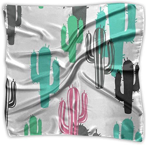 Color Cactus - Pañuelo cuadrado elegante para mujer