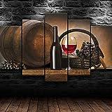 KOPASD 5 Piezas de Arte de Pared - Impresión Lienzo Pintura - Uvas de Barril de Botella de Vino - Pinturas de la Etiqueta de la Pared - HD Escena Pared Arte Pintura -100x55cm