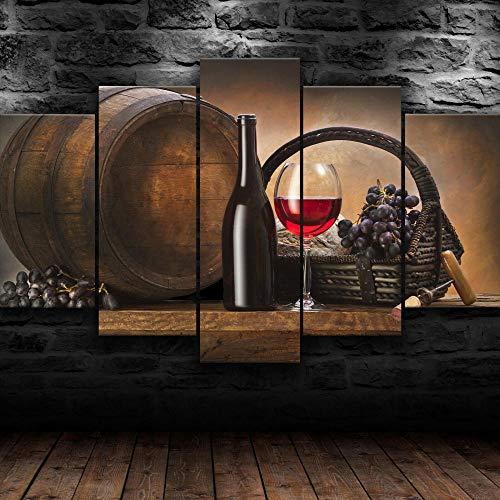 45Tdfc Cuadro Moderno en Lienzo, Conjunto de 5 Piezas para Salon Decoración 80x150 cm Uvas De Barril De Botella De Vino Arte Pared Fotos Cuadros En Lienzo Lonas De Imprimir Modern Artwork