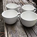 Large Grand Ceramic White Mugs for Cappuccino, Coffee, Latte, Cereal, Ice Cream, Etc., Set of 4, White, 22oz