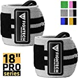 FIGHTECH Wrist Wraps for Weight Lifting 18 inch Professional Grade Wrist Support Braces for Weightlifting, Crossfit and Strength Training | for Men and Women (Gray, 18 inch)