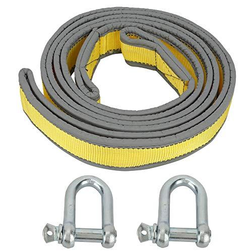 Cuerda de remolque para remolque de coche ganchos en forma de U 8 toneladas cuerda de tracción fuerte de alta resistencia para columpios para acampar para escalar(Yellow-gray)