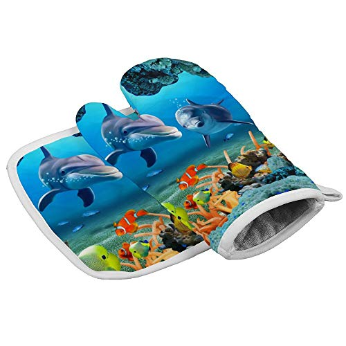 Yutess Hittebestendige geïsoleerde oven wanten pannenlappen Keuken Oven Handschoenen voor het bakken BBQ Grilling Abstract Fish Aquarium Ontwerp En Achtergrond {Aangepast, Gepersonaliseerd}