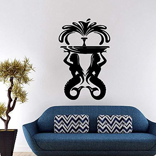 Schöne schöne Meerjungfrau Brunnen Eco Vinyl Aufkleber Kinderzimmer Home Decor Hintergrund Wandkunst Aufkleber 87X136.5Cm