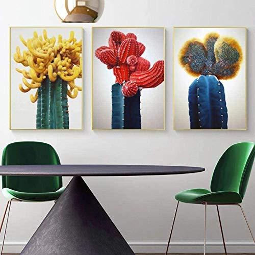 XingChen Obra de Arte para el hogar 3 Piezas 20x30cm sin Marco Rojo Azul Cactus Lienzo Pintura Planta Verde Póster Arte de la Pared Imagen Sala de Estar Decoración del hogar