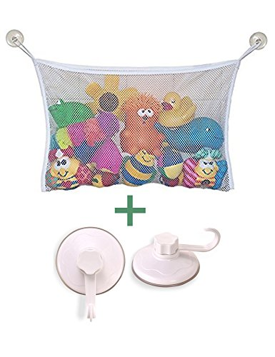 Buy Cheap Mesh Bath Toy Organizer + 2 Ultra Strong Hooks Suction Cups – The Perfect Net for Bathtu...