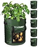 Decorlife 6 Pack 10 Gallon Potato Grow Bags,Heavy Duty Planting Potato Pots with Flap & Handles, PE Potato Planter Bags Comes with 6 Labels, Easy to Move for Potatoes Tomatoes