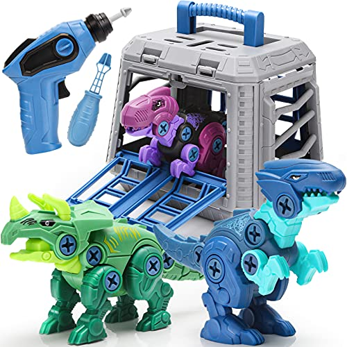 Dreamon Dinosaurios Juguetes para Niños con Jaula Taladro Eléctrico, Educativo Regalos Construcción Juguetes para niños 4 años