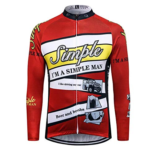 Sports Thriller Rider T.R.S Ropa de Ciclismo para Hombre Ciclismo Maillot Manga Larga Chaqueta Cálida de Invierno 4X-Large