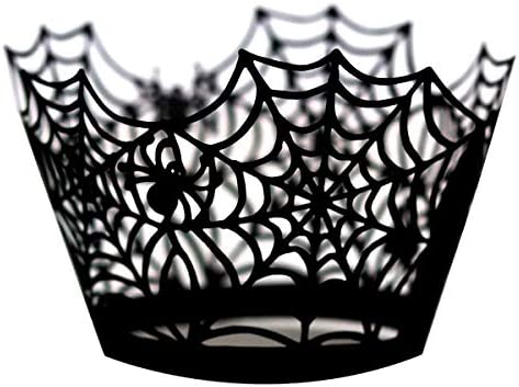 50 Pcs Halloween Cupcake Wrappers Spiderweb Cupcake Wrappers Black Laser Cut Cupcake Liners product image