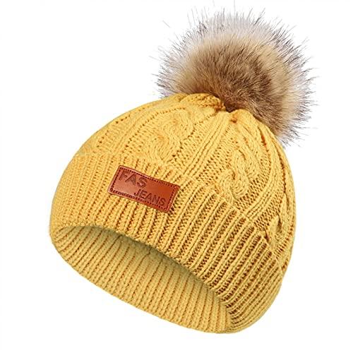 Sombrero para bebé, niña, invierno, cálido, forro polar de algodón, gorro de punto pompón para niño, niña, niña, bambú, para exterior