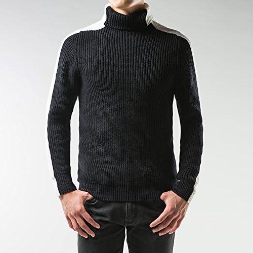 Jdfosvm Une Chemise à Manches Longues en Hiver sous Mode Couleur Hommes Occasionnel Pull,Noir et Blanc,XL