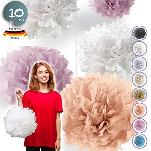 Pumpko® Decor 10 Seidenpapier Pompons | Deko für Party Hochzeit Geburtstag | Apricot Hell-Rosa Weiß | Inklusive Ponpon PDF Aufbauanleitung