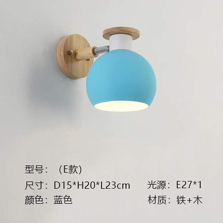 Nordic kreative macaron Wandleuchte Nachttischlampe Studie Gang Hintergrunddekoration @ E Modell MP215 Blau_Two-Farbe 12W