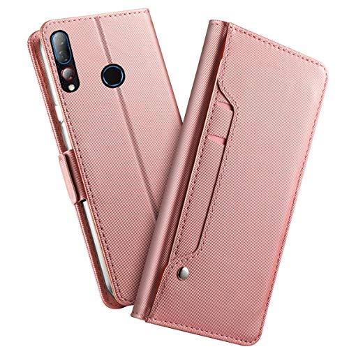 futypei für HTC Desire 19 Plus Hülle, Leder Flip Hülle mit Standfunktion undKartenfach Magnetisch Ledertasche Handyhülle Schutzhülle Tasche Brieftasche Etui für HTC Desire 19 Plus Rose Gold