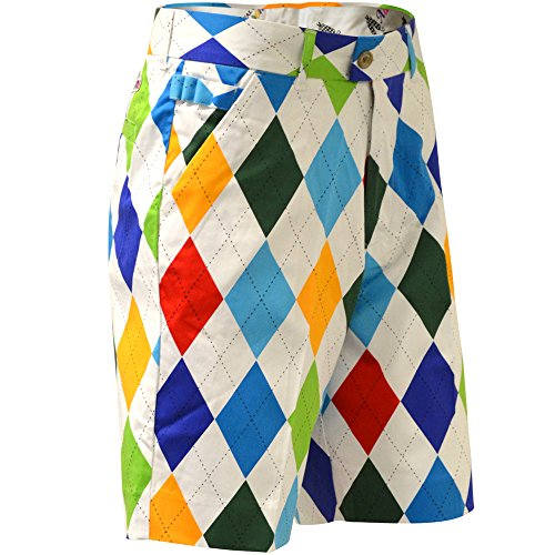 Royal & Awesome Men's Patterned Golf Shorts, King of Diamond, 36W