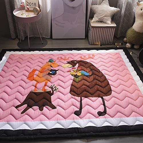Baobe Alfombra para niños, Crawl Mat Algodón antideslizante no tóxico Super Large Play Mat 145cm * 195cm * 2.5cm Animales encantadores coloridos lavables (rosado)