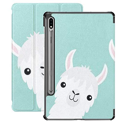 Funda para Galaxy Tab S7 Funda Delgada y Liviana con Soporte para Tableta Samsung Galaxy Tab S7 de 11 Pulgadas Sm-t870 Sm-t875 Sm-t878 2020 Release, Two Llama Alpaca Animal Set Face